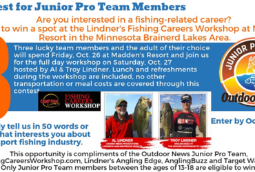 Hey, Junior Pro Team types, want to win a spot in upcoming Fishing Careers Workshop?