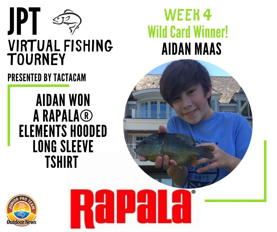 "Weekly winner in the JPT Virtual Fishing Tournament Presented by Tactacam won a Rapala long sleeve fishing shirt featuring the ""elements"" design."