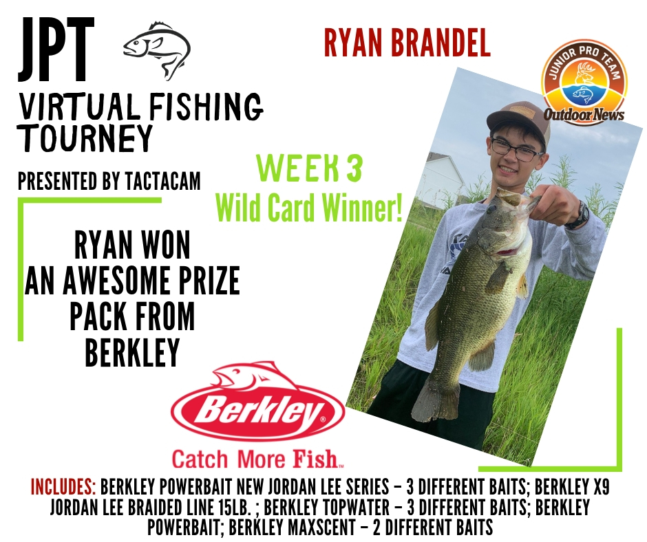 Weekly winner 3 for the Junior Pro Team Virtual Fishing Tourney presented by Tactacam won a Berkley fishing prize pack