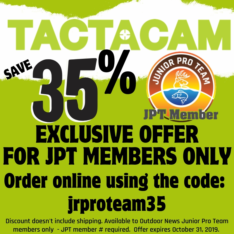 Exclusive offer for Junior Pro Team members to save 35% off sitewide at Tactacam.com Expires Oct. 31, 2019