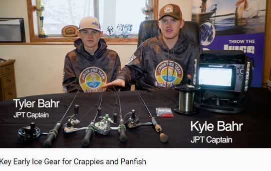 JPT Captains Kyle and Tyler Bahr Video Talking About Gear for Early Season Ice Fishing in the Great Lakes Region